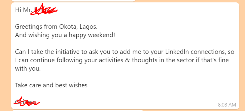 A personal email message for connecting with hiring managers directly to find a job