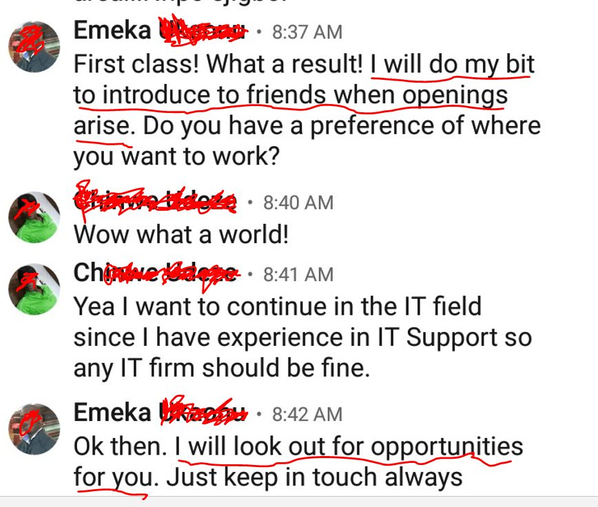 Another contact messaged by the first-class lady who found a job the unconventional way